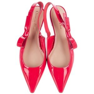 Authentic CHRISTIAN DIOR Red Slingback Flats